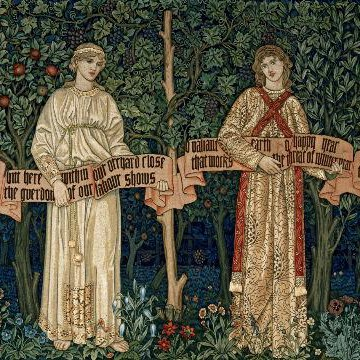 botticelli-reimagined-at-the-victoria-and-albert-museum_the-orchard-1890-by-william-morris-john-henry-dearle-morris-and-co-victoria-and-albert-museum-london_91a86ef0641fa23bd9acb2bb94b40ea9